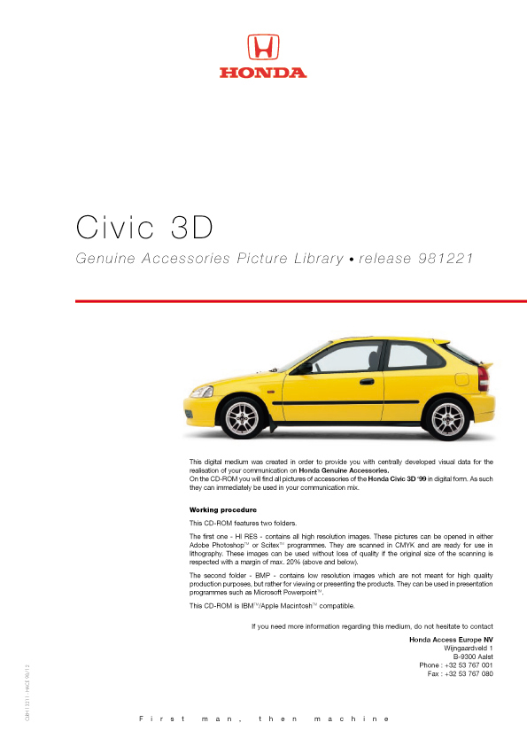 Honda Civic 3D Genuine Accessories Catalog - page 01