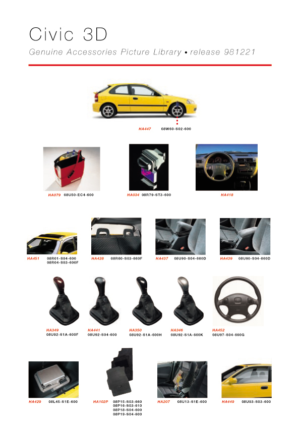 Honda Civic 3D Genuine Accessories Catalog - page 03