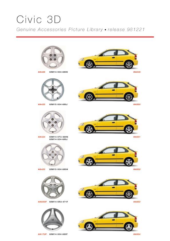 Honda Civic 3D Genuine Accessories Catalog - page 04