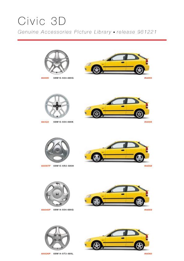 Honda Civic 3D Genuine Accessories Catalog - page 05