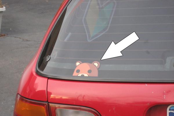 Sticker PedoBear on Civic EG