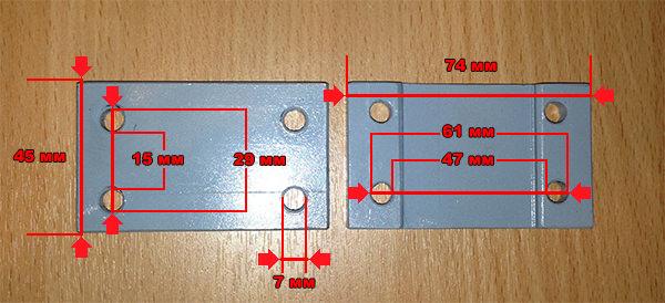 Размеры накладки на передний верхний рычаг