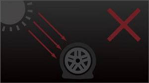 Оградите шины во время сезонного хранения колес от прямых солнечных лучей