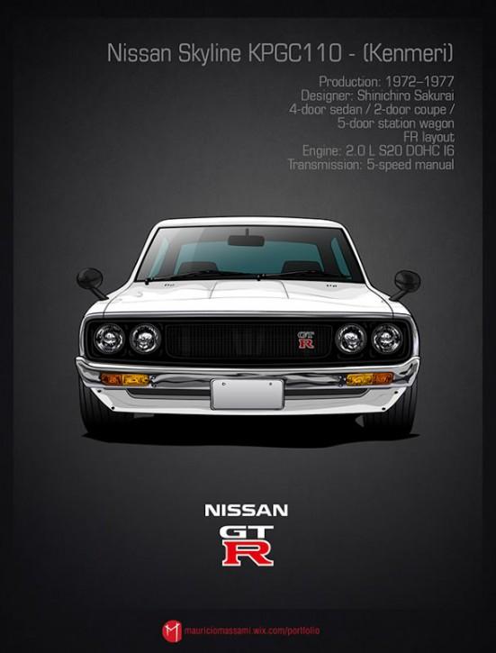 Эволюция Nissan Skyline GT-R в картинках - 05-Nissan-Skyline-KPGC110-Kenmeri.jpg